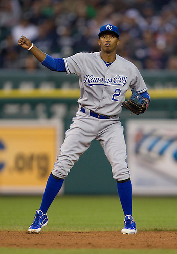 May 01, 2012:  Kansas City Royals infielder Alcides Escobar (2) during MLB game action between the Kansas City Royals and the Detroit Tigers at Comerica Park in Detroit, Michigan.  The Tigers defeated the Royals 9-3.