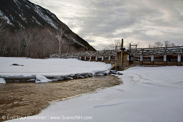 Dam during the winter months at the Willey House Historical site along the Saco River in Crawfrod Notch State Park of the White Mountains, New Hampshire USA