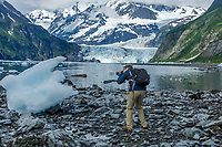 Man photographs Ice Bergs on shore in front of Cascade Glacier in Prince William Sound in Harriman Fjord.  Thurmer Tours Photo Tour  June, 2018 Alaska<br /> <br /> Photo by Jeff Schultz/SchultzPhoto.com  (C) 2018  ALL RIGHTS RESERVED