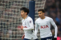 Tottenham Hotspur's Son Heung-Min celebrates scoring his side's second goal <br /> <br /> Photographer Craig Mercer/CameraSport<br /> <br /> The Premier League - Tottenham Hotspur v Huddersfield Town - Saturday 3rd March 2018 - Wembley Stadium - London<br /> <br /> World Copyright &copy; 2018 CameraSport. All rights reserved. 43 Linden Ave. Countesthorpe. Leicester. England. LE8 5PG - Tel: +44 (0) 116 277 4147 - admin@camerasport.com - www.camerasport.com