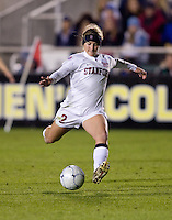 Camille Levin (2) of Stanford takes a shot during the second game of the NCAA Women's College Cup at WakeMed Soccer Park in Cary, NC.  Stanford defeated Boston College, 2-0.