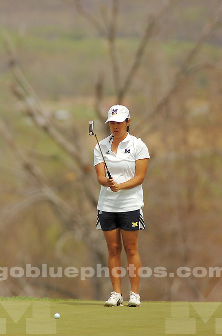 The University of Michigan women's golf team compete during the second round of the 2014 Big Ten Women's Golf Tournament in French Lick, IN. April 26, 2014