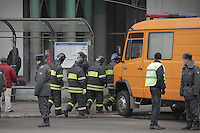 Moscow, Russia, 29/03/2010..Scenes outside Lubyanka metro station, where at least 24 people were killed in a morning rush hour suicide bombing. A second bomb exploded at Park Kultury metro station, killing at least another 14 people. Emergency services entering the metro station..