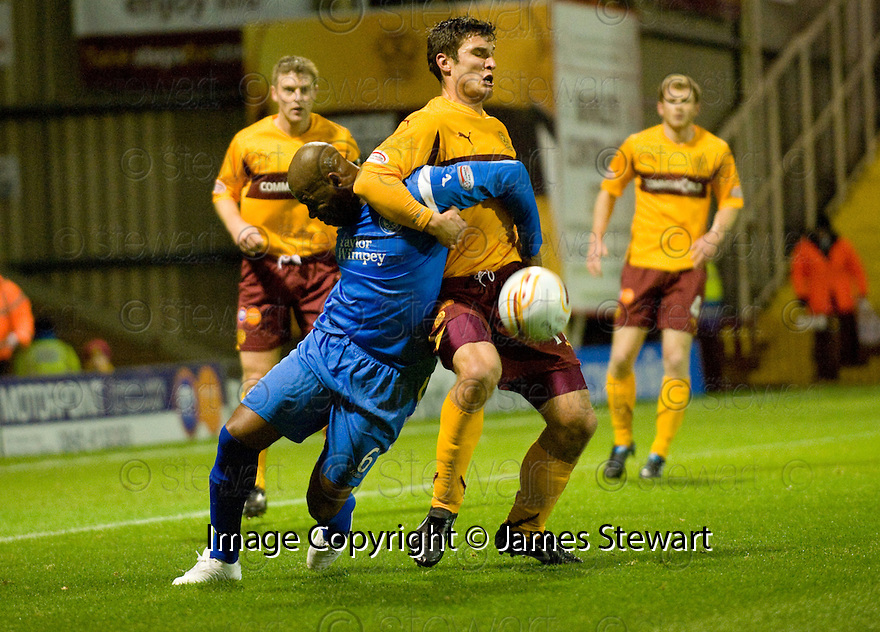 10/11/2010   Copyright  Pic : James Stewart.sct_jspa015_motherwell_v_st_johnstone  .:: MICHAEL DUBERRY CLAIMS A PENALTY AFTER HE GOES DOWN IN THIS TUSSLE WITH JOHN SUTTON  ::.James Stewart Photography 19 Carronlea Drive, Falkirk. FK2 8DN      Vat Reg No. 607 6932 25.Telephone      : +44 (0)1324 570291 .Mobile              : +44 (0)7721 416997.E-mail  :  jim@jspa.co.uk.If you require further information then contact Jim Stewart on any of the numbers above.........