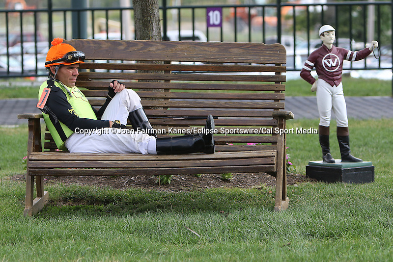 August 29, 2015. Roberto Alvarado Jr. awaits his mount for race 7. Undercard races and scenes around the track on Smarty Jones Stakes Day at  Parx Racing in Bensalem, PA.  (Joan Fairman Kanes/ESW/CSM)