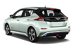 Car pictures of rear three quarter view of a 2018 Nissan Leaf Tekna 5 Door Hatchback angular rear