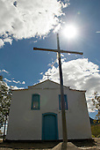 Goias Velho, Brazil. Well preserved colonial town. Igreja de Santa Barbara (Oureiro de Santa Bárbara) church with cross.
