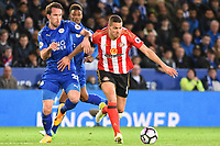 Ron-Robert Zieler of Leicester City, Jack Rodwell of Sunderland during the Premier League match between Leicester City v Sunderland played at King Power Stadium, Leicester on 4th April 2017.<br /> <br /> available via IPS Photo Agency only