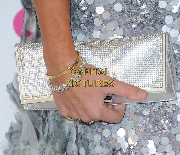 Lady Victoria Hervey's bag.The 21st Annual Elton John AIDS Foundation Academy Awards Viewing Party held at The City of West Hollywood Park in West Hollywood, California, USA..February 24th, 2013.oscars detail bracelets sequins sequined paillettes grey gray silver jewellery jewerly diamonds clutch bag.CAP/DVS.©DVS/Capital Pictures.