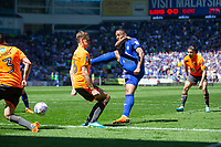 Kenneth Zohore of Cardiff City sees his shot blocked by David Edwards of Reading during the Sky Bet Championship match between Cardiff City and Reading at the Cardiff City Stadium, Cardiff, Wales on 6 May 2018. Photo by Mark  Hawkins / PRiME Media Images.