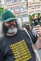New York, NY, USA - Judah Friedlander, an American actor and comedian, known for playing the role of writer Frank Rossitano on the NBC sitcom 30 Rock, holds his Activist Barbie doll, wearing a Black Lives Matter t-shirt.  New Yorkers gathered in Union Square to stand in solidarity with the people of Charlottesville, VA, condem the Alt Right, facism, and President Donald Trump. The crowd included acticvists from Democratic Socialists, Black Lives Matter, the ACLU and other groups. ©Stacy Walsh Rosenstock