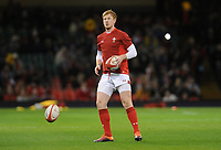 Wales Rhys Patchell during the pre match warm up<br /> <br /> Photographer Ian Cook/CameraSport<br /> <br /> Under Armour Series Autumn Internationals - Wales v Scotland - Saturday 3rd November 2018 - Principality Stadium - Cardiff<br /> <br /> World Copyright &copy; 2018 CameraSport. All rights reserved. 43 Linden Ave. Countesthorpe. Leicester. England. LE8 5PG - Tel: +44 (0) 116 277 4147 - admin@camerasport.com - www.camerasport.com