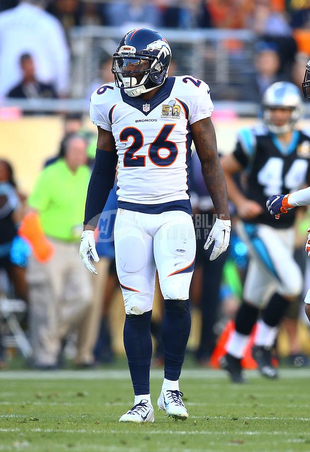 Feb 7, 2016; Santa Clara, CA, USA; Denver Broncos defensive back Darian Stewart (26) against the Carolina Panthers in Super Bowl 50 at Levi's Stadium. Mandatory Credit: Mark J. Rebilas-USA TODAY Sports