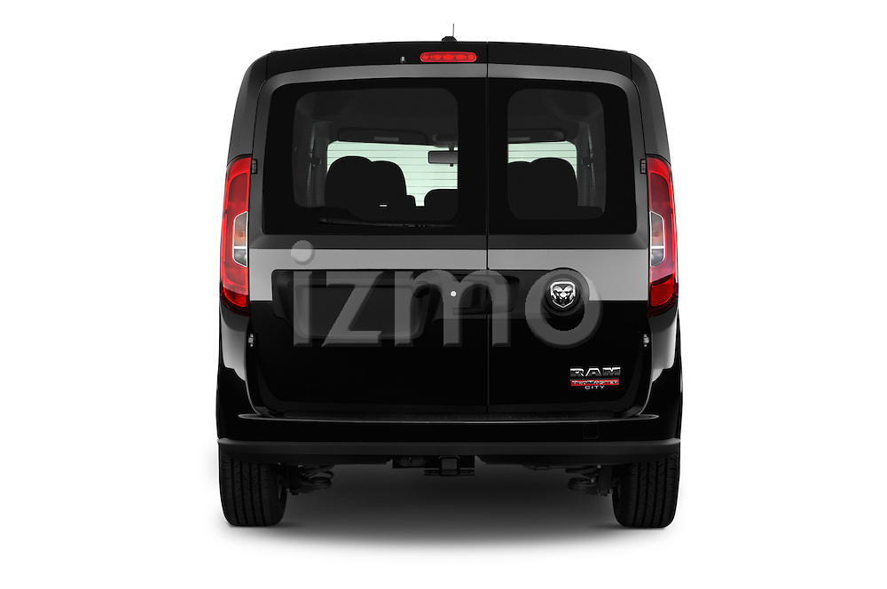 Straight rear view of 2015 Ram Promaster City SLT 5 Door Mini Mpv Rear View  stock images