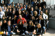 "Los Angeles, U.S.A, 1989. Family picture of the crew during the filming of the movie ""Why Me?"" with Christopher Lambert."