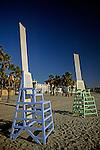 Life guard chairs on beach Santa Monica California USA