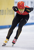 1st February 2019, Dresden, Saxony, Germany; World Short Track Speed Skating; 1000 meters men in the EnergieVerbund Arena. Haidong Jia from China on the track.