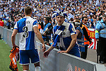 Lee Brown of Bristol Rovers and Ollie Clarke of Bristol Rovers celebrate victory in the 2015 Vanarama Conference Promotion Final match between Grimsby Town and Bristol Rovers at Wembley Stadium, London<br /> Picture by David Horn/eXtreme aperture photography +44 7545 970036<br /> 17/05/2015