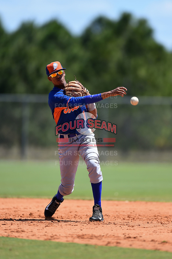 New York Mets Alfredo Reyes (1) during practice before a minor league spring training game against the Miami Marlins on March 30, 2015 at the Roger Dean Complex in Jupiter, Florida.  (Mike Janes/Four Seam Images)