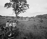 SRI LANKA, Asia, tourists with guide at Udawalawe National Wildlife Park (B&W)