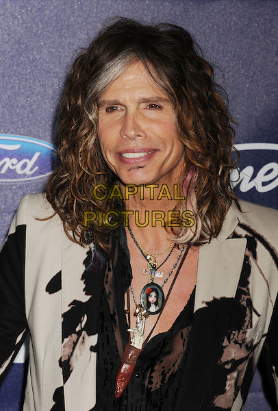 Steven Tyler.arriving at the American Idol Finalists party at The Grove Parking Structure Rooftop in Los Angeles, California, USA. March 1st, 2012 .headshot portrait black beige necklaces jacket.CAP/ROT/TM.©Tony Michaels/Roth Stock/Capital Pictures