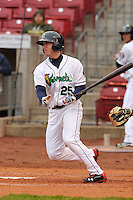Mitch Garver #25 of the Cedar Rapids Kernels swings against the Kane County Cougars at Perfect Game Field on May 1, 2014 in Cedar Rapids, Iowa. The Kernels won 5-2.   (Dennis Hubbard/Four Seam Images)