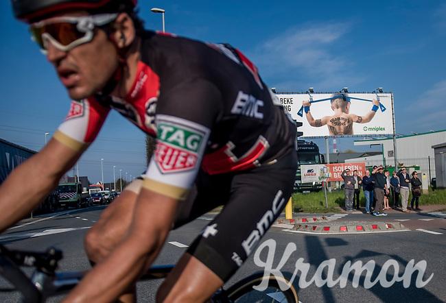 'Mommy's rebel' <br /> race leader (&amp; eventual winner) Greg Van Avermaet (BEL/BMC) passing an E3 billboard in the last kilometers of the race<br /> <br /> 60th E3 Harelbeke (1.UWT)<br /> 1day race: Harelbeke &rsaquo; Harelbeke - BEL (206km)