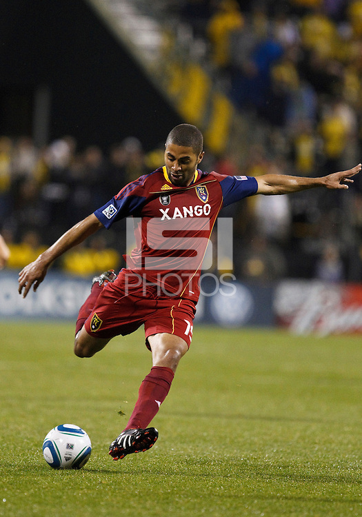 24 APRIL 2010:  Real Salt Lakes' Alvaro Saborio (15) during the Real Salt Lake at Columbus Crew MLS soccer game in Columbus, Ohio. Columbus Crew defeated RSL 1-0 on April 24, 2010.