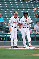 Rochester Red Wings center fielder Byron Buxton (53) on third with manager Mike Quade (8) after hitting a triple during a game against the Indianapolis Indians on May 26, 2016 at Frontier Field in Rochester, New York.  Indianapolis defeated Rochester 5-2.  (Mike Janes/Four Seam Images)