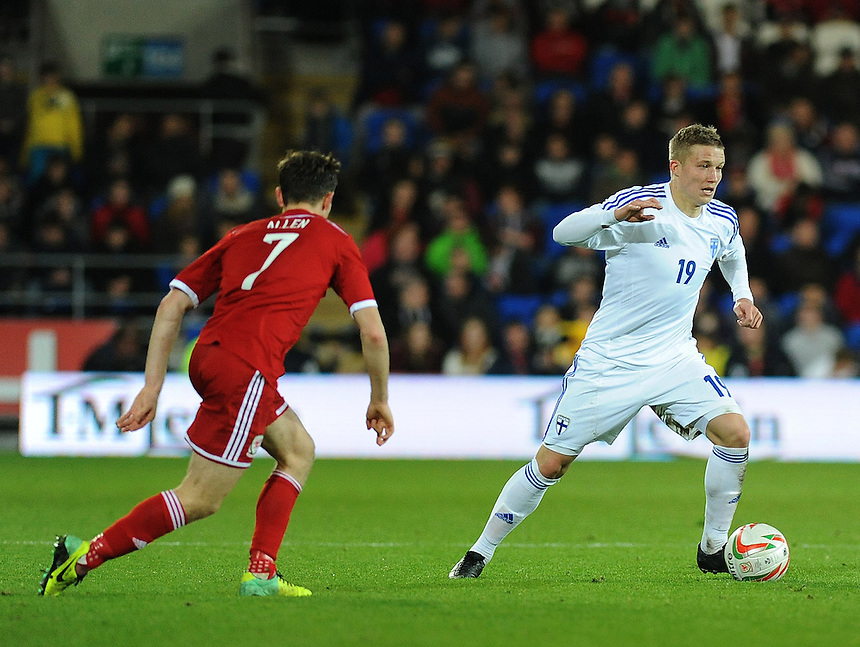Finland's Alexander Ring in action during todays match  <br /> <br /> Photo by Ashley Crowden/CameraSport<br /> <br /> Football - International Friendly - Wales v Finland - Saturday 16th November 2013 - Cardiff City Stadium - Cardiff<br /> <br /> &copy; CameraSport - 43 Linden Ave. Countesthorpe. Leicester. England. LE8 5PG - Tel: +44 (0) 116 277 4147 - admin@camerasport.com - www.camerasport.com
