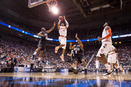 Trent Nelson  |  The Salt Lake Tribune.Salt Lake City - Butler vs. Syracuse, NCAA West Regional college basketball practice Thursday, March 25, 2010. Syracuse forward Wesley Johnson (4)   Butler guard/forward Willie Veasley (21)   Butler guard Ronald Nored (5)