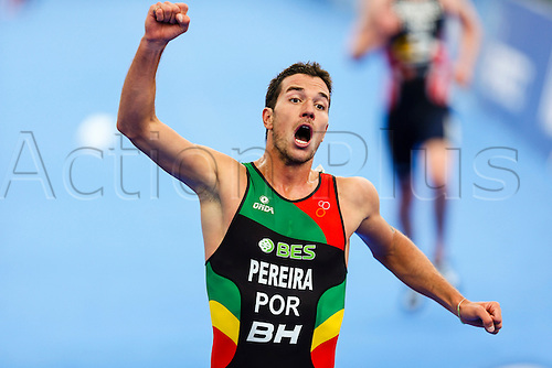 31.05.2014.  London, England.  Joao PEREIRA (POR) celebrates taking third place on the finish line, during the ITU World Triathlon Elite Men's race being held in Hyde Park.