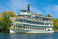 The sternwheeler Riverboat Discovery takes tourists down the Chena River in Fairbanks.