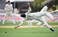 3rd December, Hamilton, New Zealand;  England's Rory Burns attempts an acrobatic catch during play day 5 of the 2nd test cricket match between New Zealand and England at Seddon Park, Hamilton, New Zealand.