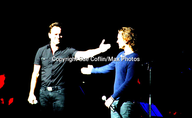 """General Hospital's Jonathan Jackson """"Avery Barkley"""" stars in Nashville with costar Charles Esten """"Deacon"""" and perform live in concert at WolfTrap, Vienna, Virginia. (Photo by Sue Coflin/Max Photos)"""