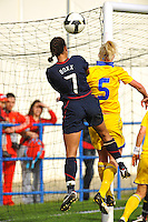USA Captain Shannon Boxx heads a shot on goal.  The USA was victorious over Sweden 2-0 in Ferreiras on March 1, 2010 at the Algarve Cup.