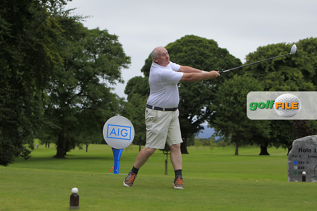 John Wims (Enniscrone) on the 1st tee during the AIG Connacht Pierce Purcell Shield Semi-Finals of the AIG Connacht Cups &amp; Shields Finals 2016 at Ballinrobe Golf Club, Ballinrobe Co. Mayo on Saturday 6th August 2016.<br /> Picture:  Golffile | Thos Caffrey<br /> <br /> All photos usage must carry mandatory copyright credit   (&copy; Golffile | Thos Caffrey)