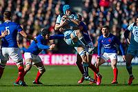 8th March 2020; Murrayfield Stadium, Edinburgh, Scotland; International Six Nations Rugby, Scotland versus France; Scott Cummings of Scotland catches the kicked forward ball
