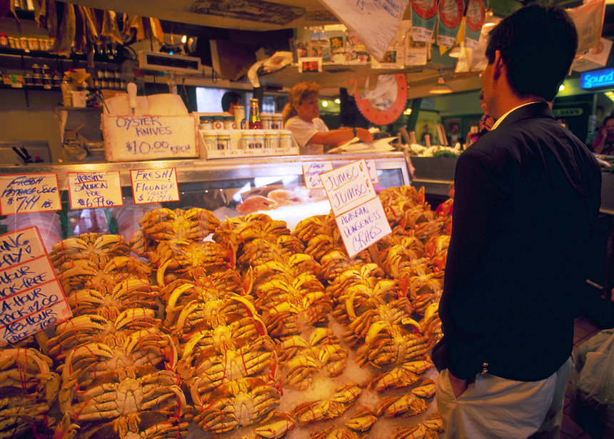 Dungeness crabs for sale at Pike Place fish market. Seattle, Washington.