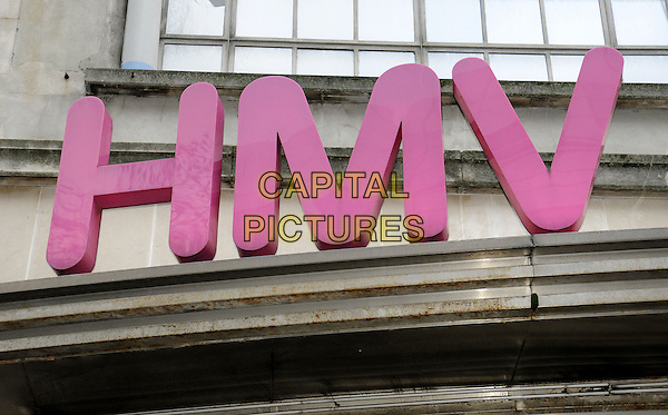 HMV became the latest UK High Street store group to call in the administrators and put the future of it's 200 stores and over 4000 staff in jeopardy. Pictured - HMV Flagship store in Oxford Street, London, England..January 15th 2013.detail gv general view sign pink.CAP/PP/BK.©Bob Kent/PP/Capital Pictures