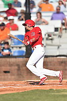Johnson City Cardinals left fielder Carlos Torres (21) swings at a pitch during a game against the Elizabethton Twins at Howard Johnson Field at Cardinal Park on June 26, 2016 in Johnson City, Tennessee. The Twins defeated the Cardinals 13-12. (Tony Farlow/Four Seam Images)
