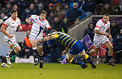 9th December 2017, AJ Bell Stadium, Salford, England; European Rugby Challenge Cup, Sale Sharks versus Cardiff Blues; Sale Sharks' AJ MacGinty is tackled by Cardiff Blues' Josh Turnbull