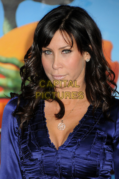 "SYDNEY HOLLAND .""Rango"" Los Angeles Premiere held at the Regency Village Theater, Westwood, California, USA, 14th February 2011..portrait headshot initials letters necklace silver  blue purple ruched silk satin  .CAP/ADM/BP.©Byron Purvis/AdMedia/Capital Pictures."