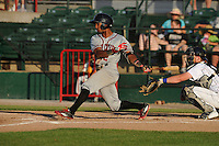 Quad Cities River Bandits Osvaldo Duarte (2) swings during the Midwest League game against the Burlington Bees at Community Field on June 10, 2016 in Burlington, Iowa.  The Bees won 3-1.  (Dennis Hubbard/Four Seam Images)