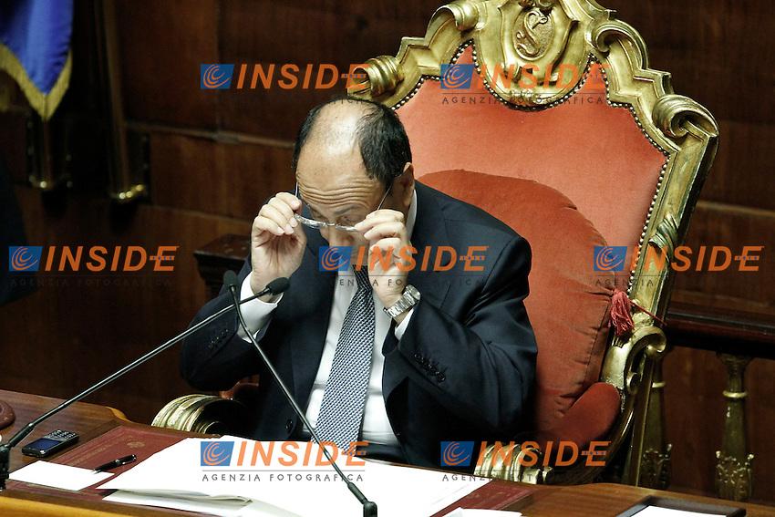 Il Presidente del Senato Renato Schifani.Roma 22/05/2012 Informativa urgente del Governo al Senato, sul recente terremoto in Emilia..Foto Serena Cremaschi Insidefoto