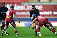Matt Banahan of Bath Rugby takes on the Scarlets defence. European Rugby Champions Cup match, between the Scarlets and Bath Rugby on October 20, 2017 at Parc y Scarlets in Llanelli, Wales. Photo by: Patrick Khachfe / Onside Images