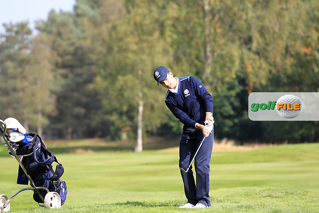 Ivan Cantero Gutierrez (ESP) on the 4th hole of the Mixed Fourballs, puts to go two up during the 2014 JUNIOR RYDER CUP at the Blairgowrie Golf Club, Perthshire, Scotland. <br /> Picture:  Thos Caffrey / www.golffile.ie