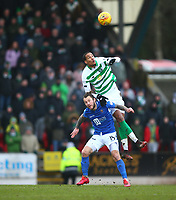 1st March 2020; McDairmid Park, Perth, Perth and Kinross, Scotland; Scottish Premiership Football, St Johnstone versus Celtic; Christopher Jullien of Celtic leaps over Stevie May of St Johnstone to win the headed ball