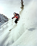USA, Colorado, Telluride, man skiing in powder on steep slope, Telluride
