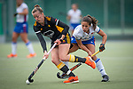 Mannheim, Germany, September 07: During the field hockey Bundesliga match between Mannheimer HC and Harvestehuder THC on September 7, 2019 at Am Neckarkanal in Mannheim, Germany. Final score 2-0. (Photo by Dirk Markgraf / www.265-images.com) *** Franzisca Hauke #26 of Harvestehuder THC, Lucina van der Heyde #2 of Mannheimer HC